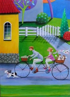 Just A Very Good Evening by Iwona Lifsches x Cartoon Drawings, Art Drawings, Bicycle Painting, Bible Study For Kids, Cottage Art, Painting People, Arte Popular, Am Meer, Country Art