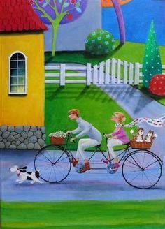 Lauritz.com - Modern pictorial arts - Iwona Lifsches. Komposition: 'Just a very good Evening', 120 x 40 cm - DK, Esbjerg, Oddesundvej