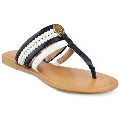 Tommy Hilfiger Lady Flat Thong Sandals ($59) ❤ liked on Polyvore featuring shoes, sandals, thong sandals, metallic flat sandals, flat shoes, toe thongs and tommy hilfiger sandals