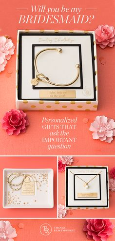 """Finding the perfect gifts for your bridemaids doesn't have to be difficult. A personalized gift will show just how thankful you are to have them by your side. Get more ideas for your """"I Do"""" crew at ThingsRemembered.com!"""
