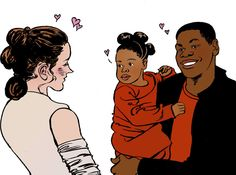 FinnRey Finn and Rey from Star Wars: The Force Awakens, hang out with their baby. The next generation of Jedi!