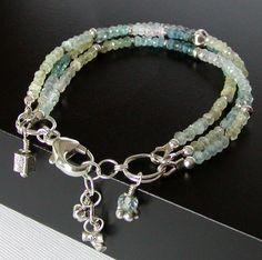Multi Strand Beryl Bracelet - Aquamarine, Heliodore, Morganite. 67.00, via Etsy.