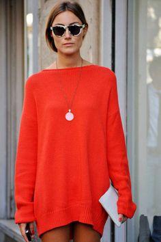 Accessories designer Georgia Tordini cozies up in a soft—yet brilliant—mini sweater dress.