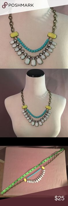Gorgeous chunky gold tone necklace Gorgeous chunky gold tone necklace with lime, light blue and rhinestone adornments. Great necklace for work, or with jeans. Worn only a few times. Jewelry Necklaces