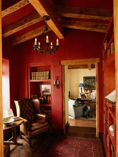 such a warm room with red walls