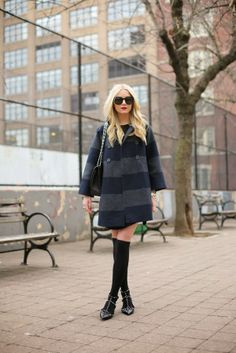 navy // black (J Crew Outlet jacket + ASOS dress + American Apparel thigh highs + Valentino flats + Chanel bag + Karen Walker sunnies) Casual Friday Outfit, Blazer Jeans, Street Look, Love Fashion, Winter Fashion, Womens Fashion, Chevron, Coast Fashion, J Crew Jacket