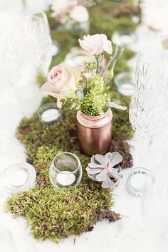 Blush and copper themed wedding decor and styling // Gareth and Sarah's Luxe Garden Wedding in Wales (Instagram: theweddingscoop) #moss #succulent