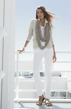 Love this outfit for the beach ~ Eileen Fisher Jacket, Tank, Jeans & Scarf | Nordstrom