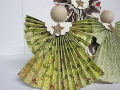 Folded Designer Paper Angels, #knutselen, kinderen, basisschool, kerstmis, engel, papier van gevouwen circels, #craft, paper, angel, X-mas, Christmas