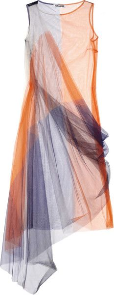Jil Sander Color-block Tulle Dress