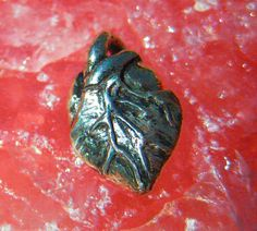 Valentines Day Anatomical Heart Jewelry Necklace, Pendant or Charm in Sterling Silver
