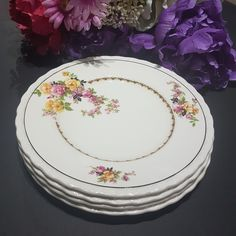 Vintage Dishes, Vintage China, Vintage Tea, Yellow Roses, Pink Roses, Shabby Chic Yellow, Bubble Paper, Vintage Dinnerware, Side Plates