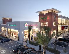 Commercial Shopping Center, Strip mall done for client to sell lease space prior to construction. Plaza Design, Mall Design, Retail Store Design, Retail Architecture, Commercial Architecture, Architecture Design, Mall Facade, Retail Facade, Shopping Center