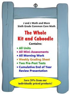 This 1,065 page bundle contains all of our units, daily morning work, mini assessments, cumulative pre-post tests, math vocabulary assessments, a weekly grading sheet, a cumulative presentation, and two interactive math notebooks. This is the go-to bundle for teaching a whole year of sixth grade math explicitly following the CCSS. Great way to raise your test scores!