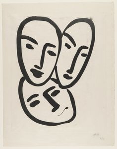 """Henri Matisse. Apollinaire, Matisse, Rouveyre (Trois têtes. A l'amitié). (c. 1951-52, printed 1966) Aquatint plate: 13 5/8 x 10 15/16"""" (34.6 x 27.8 cm); sheet: 16 1/8 x 12 11/16"""" (41 x 32.2 cm)951-52, printed 1966)"""