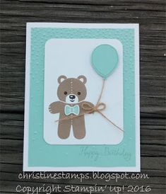 Sneak peek from the 2016 Holiday Catalog. Cookie Cutter Christmas Meets Balloon Celebration! Shows the versatility of a holiday stamp - love this adorable little teddy bear! #stampinup #cookiecutterchristmas #ballooncelebration