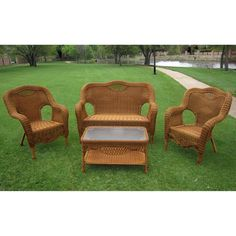 Durable and beautiful, this four-piece outdoor loveseat set is an easy way to add utility to your patio or garden area. Crafted with PVC and resin over aluminum, the set features a wicker-style texture that looks great and resists weather damage.