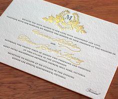 Stunning letterpress and foil vintage-inspired wedding invitation.