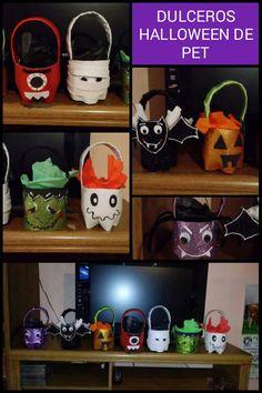 Dulceros De Botellas Pet Para Halloween Forrados De Foamy