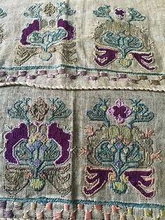 Pair Of Window Valences Ottoman-Turkish Silk Embroidered Linen 19th C. Antique