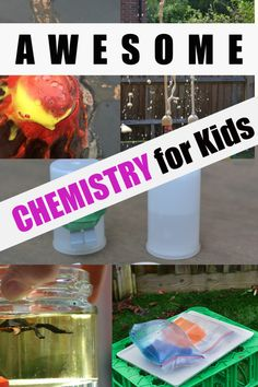Collection of awesome chemistry experiments for kids of ages. Make a volcano, film canister rocket, exploding bags, density jars and lots more easy chemistry for kids. Summer Science, Easy Science, Preschool Science, Science For Kids, Science Activities, Science Projects, Science Classroom, Science Education, Classroom Resources