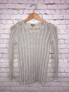 ed0f1703c05522 J. Jill Women s LS Loose Knit Light Grey Crew Neck 100% Linen Sweater Sz