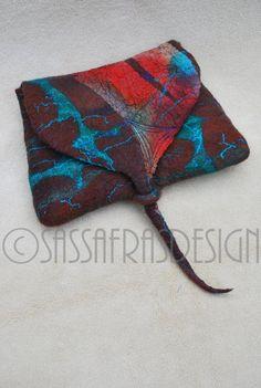 Gorgeous hand felted pouch OOAK handmade gift by sassafrasdesignl