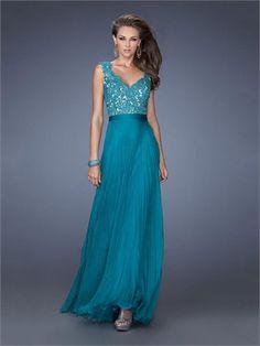 A-line Straps V-neck Lace Chiffon Prom Dress PD2633