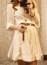 Apricot Round Neck Long Sleeve Pleated Cotton Dress $71.68