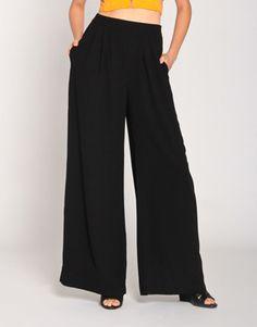 Wide Cut Trousers in Black