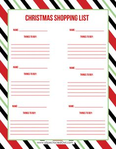 christmas shopping list printable a spectacled owl