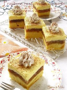 Culorile din farfurie: Apple cake with vanilla cream Layered Desserts, Just Desserts, Delicious Desserts, Baking Recipes, Cookie Recipes, Dessert Recipes, Dessert Ideas, Yummy Recipes, Eat Dessert First