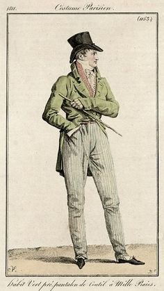 Men's outfit with green jacket and striped pantaloons, 1811.
