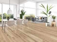 """Scandinavian living never looked so good! Our Ellington European Oak Hardwood in North Spring comes in 8 5/8"""" planks. Its modern, clean look and feel are obtained by relying on the wood grains' natural complexity and aesthetics. The light hardwood color makes it ideal for Scandinavian living rooms."""