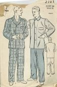 An original ca. 1939 Advance pattern 2141.  Men's Pajamas have button front top and fly front trousers.
