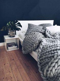 100% Merino wool Chunky Knit Blanket - Grey