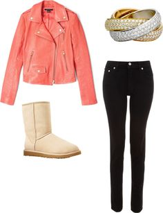 """""""Pink leather jaket"""" by begirl2799 on Polyvore"""