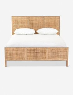 Dreaming of the tropics? Inset with woven cane, this wooden platform bed frame offers a detail-rich look with a touch of mid-century influence, perfect for contemporary coastal aesthetics. Furniture, Cane Bed, Rattan Bed, Bedroom Furniture, Bed, Wooden Platform Bed, Headboard And Footboard, Bed Frame, Platform Bed