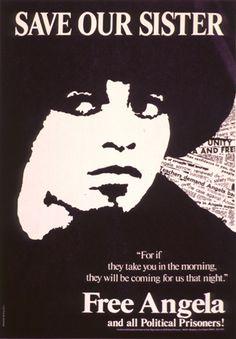 Free Angela Davis poster, 1970s