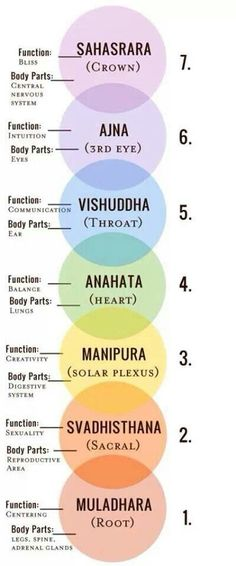 Yoga : The 7 Chakras (Body Parts and Function).... Chakras are whirling energy centers and are very important parts of the bioplasmic body..... Simple chart of Chakras's body parts and function.....