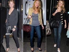 No dia-a-dia jeans coladinho é completamente indispensável, principalmente se vier acompanhado de batinhas, jaquetas de couro e cardigans. Nos pés, ela adora botas e escarpins.