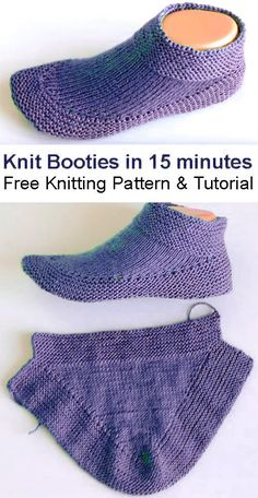 Knit Booties in 15 minutes - Tutorial - Free Knitting Patterns Knitting Paterns, Knitting Blogs, Loom Knitting, Knitting Stitches, Knitting Socks, Knit Patterns, Free Knitting, Baby Knitting, Beginner Knitting