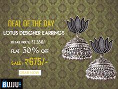 Lotus Theme Based Designer Jhumkas Product code: MIJA90J082 Retail price: 1,350/- Sale price : 945/-