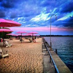 Toronto's Sugar beach at sunset. I live the pink shade.