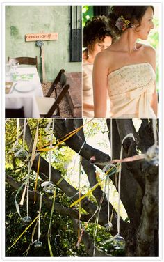 So many things to like about this wedding - colorful ribbons, ceremony under a tree, patterned napkins, succulents, cute typeface and more.