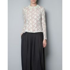 Zara Embroidered Tulle Blouse With Pearl Collar