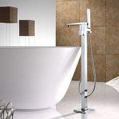 With its ultra-contemporary styling, the Dree floor-mounted clawfoot tub filler faucet features 90 Degree that brings a clean, minimalist aesthetic appeal to the home ~ http://walkinshowers.org/best-freestanding-tub-faucet-reviews.html