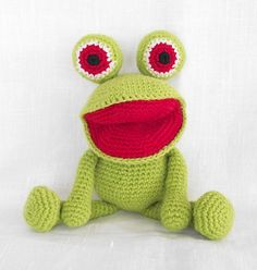 """Easy Frog Amigurumi, Free Crochet Pattern - PDF File, click """"download"""" or """" free Ravelry download"""" here: http://www.ravelry.com/patterns/library/frog-amigurumi-free-crochet-pattern"""
