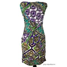 Sexy ruched strapless mini dress ❗️Final price reduction: Gorgeous slinky strapless mini dress purple, green, turquoise, ivory and black print. Exposed gold zipper, flattering ruching. Excellent condition. Size medium but fits like small 2/4. Please ask if you need measurements! Lowest price!! Keep in mind PoshMark takes 20% commission from each buyers profits! Snap Dresses Mini