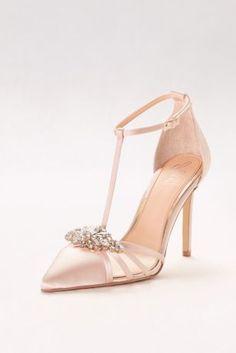 These elegant satin T-strap heels 683735384e92